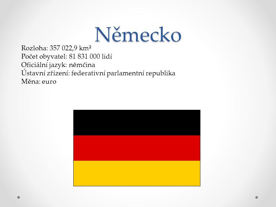 Německo Rozloha: 357 022,9 km² Počet obyvatel: 81 831 000 lidí Oficiální jazyk: němčina Ústavní zřízení: federativní parlamentní republika Měna: euro