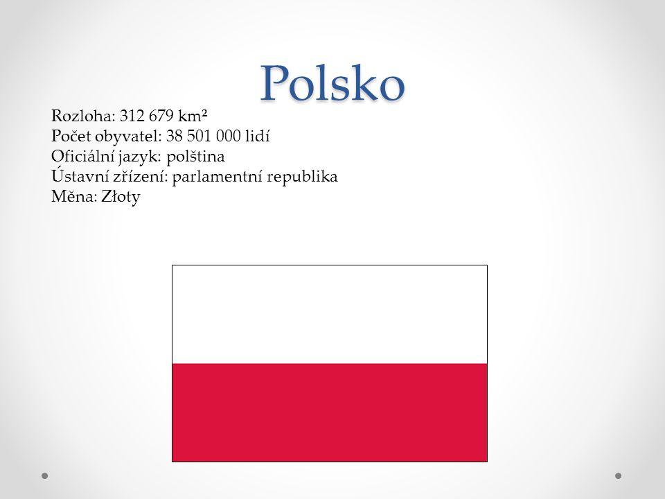 Polsko Rozloha: 312 679 km² Počet obyvatel: 38 501 000 lidí Oficiální jazyk: polština Ústavní zřízení: parlamentní republika Měna: Złoty