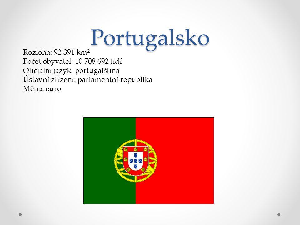Portugalsko Rozloha: 92 391 km² Počet obyvatel: 10 708 692 lidí Oficiální jazyk: portugalština Ústavní zřízení: parlamentní republika Měna: euro