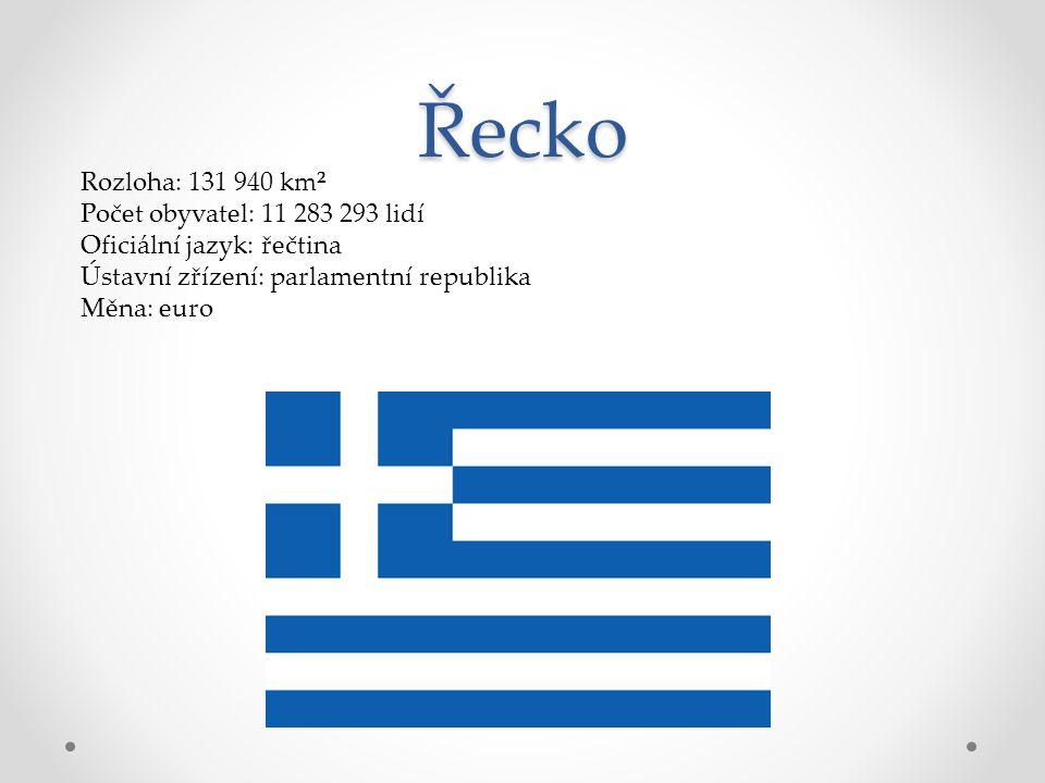 Řecko Rozloha: 131 940 km² Počet obyvatel: 11 283 293 lidí Oficiální jazyk: řečtina Ústavní zřízení: parlamentní republika Měna: euro