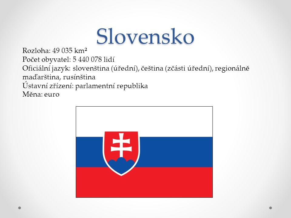 Slovensko Rozloha: 49 035 km² Počet obyvatel: 5 440 078 lidí Oficiální jazyk: slovenština (úřední), čeština (zčásti úřední), regionálně maďarština, ru