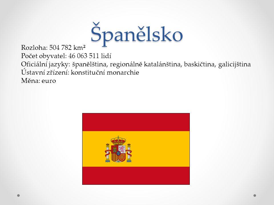 Španělsko Rozloha: 504 782 km² Počet obyvatel: 46 063 511 lidí Oficiální jazyky: španělština, regionálně katalánština, baskičtina, galicijština Ústavn