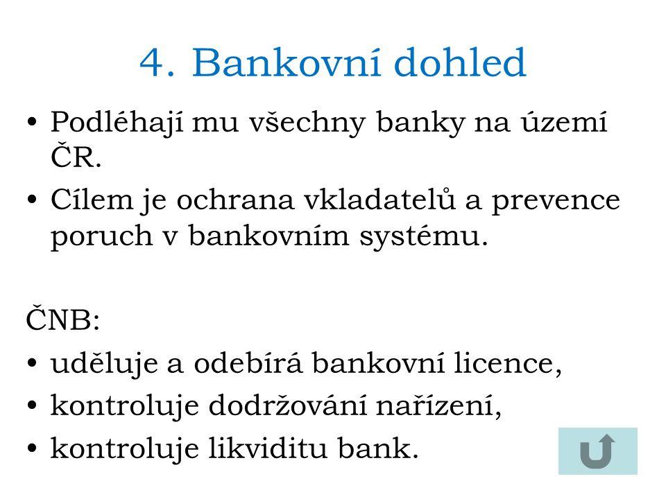 4.Bankovní dohled Podléhají mu všechny banky na území ČR. Cílem je ochrana vkladatelů a prevence poruch v bankovním systému. ČNB: uděluje a odebírá ba