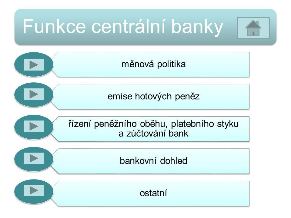 Funkce centrální banky měnová politika emise hotových peněz řízení peněžního oběhu, platebního styku a zúčtování bank bankovní dohled ostatní