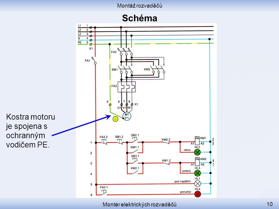 Montáž rozvaděčů Montér elektrických rozvaděčů 10 Kostra motoru je spojena s ochranným vodičem PE.