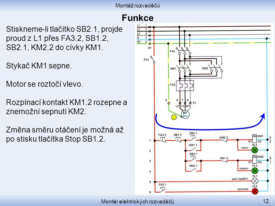 Montáž rozvaděčů Montér elektrických rozvaděčů 12 Stiskneme-li tlačítko SB2.1, projde proud z L1 přes FA3.2, SB1.2, SB2.1, KM2.2 do cívky KM1.