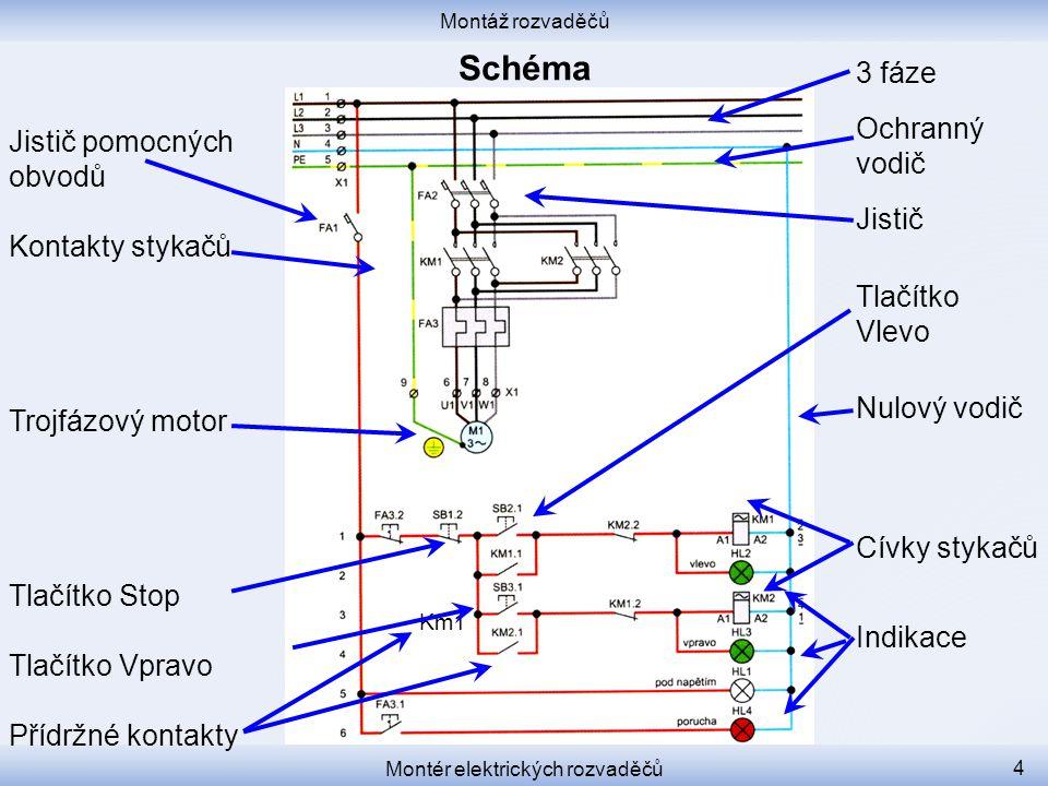 Montáž rozvaděčů Montér elektrických rozvaděčů 4 Jistič pomocných obvodů Kontakty stykačů Trojfázový motor Tlačítko Stop Tlačítko Vpravo Přídržné kontakty 3 fáze Ochranný vodič Jistič Tlačítko Vlevo Nulový vodič Cívky stykačů Indikace Km1