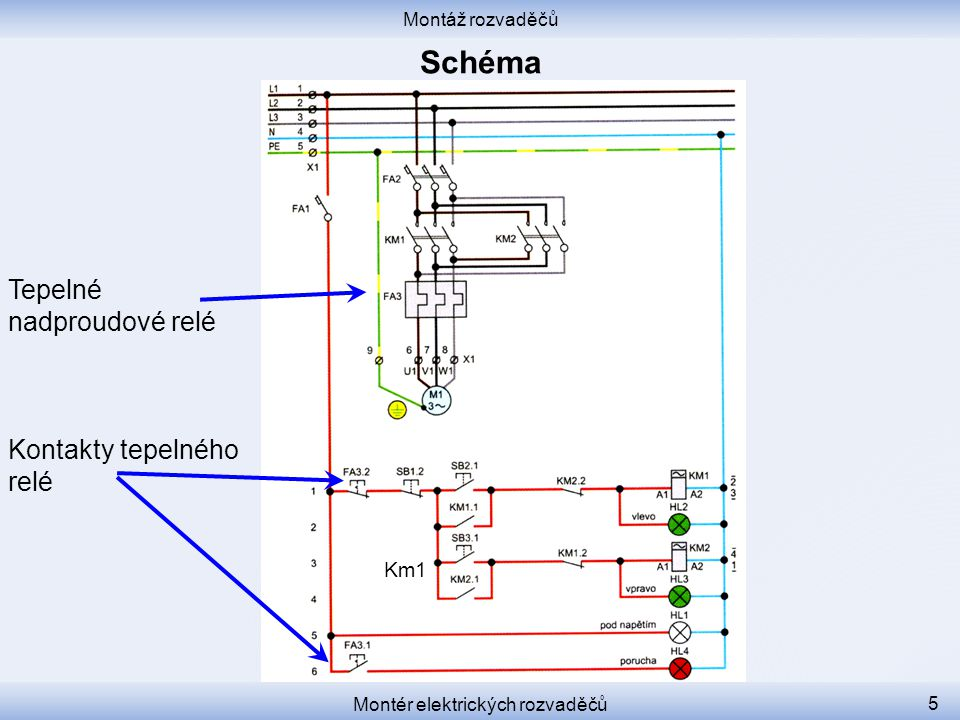 Montáž rozvaděčů Montér elektrických rozvaděčů 5 Tepelné nadproudové relé Kontakty tepelného relé Km1