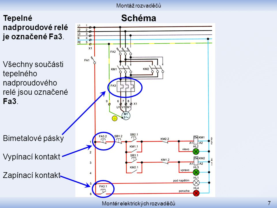 Montáž rozvaděčů Montér elektrických rozvaděčů 7 Tepelné nadproudové relé je označené Fa3. Všechny součásti tepelného nadproudového relé jsou označené