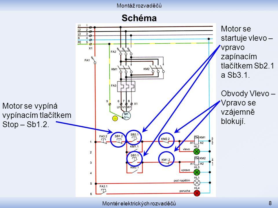Montáž rozvaděčů Montér elektrických rozvaděčů 8 Motor se vypíná vypínacím tlačítkem Stop – Sb1.2. Motor se startuje vlevo – vpravo zapínacím tlačítke