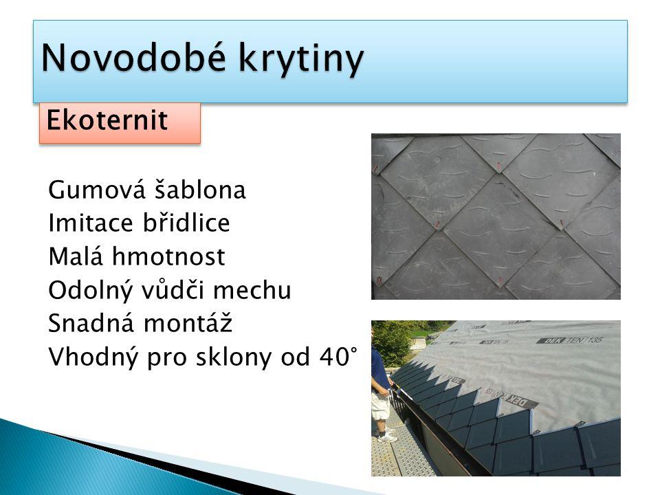 Gumová šablona Imitace břidlice Malá hmotnost Odolný vůdči mechu Snadná montáž Vhodný pro sklony od 40° Ekoternit