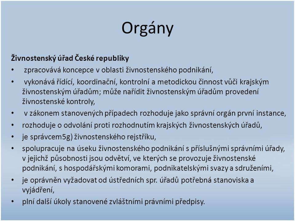 Orgány Živnostenský úřad České republiky zpracovává koncepce v oblasti živnostenského podnikání, vykonává řídící, koordinační, kontrolní a metodickou