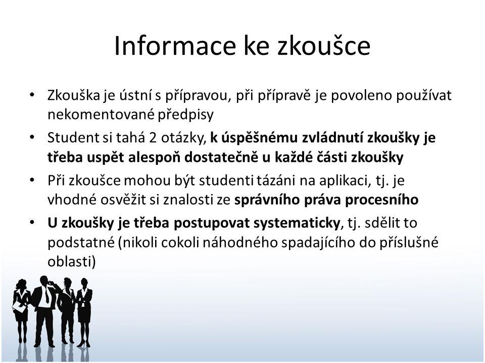 Informace ke zkoušce Zkouška je ústní s přípravou, při přípravě je povoleno používat nekomentované předpisy Student si tahá 2 otázky, k úspěšnému zvlá