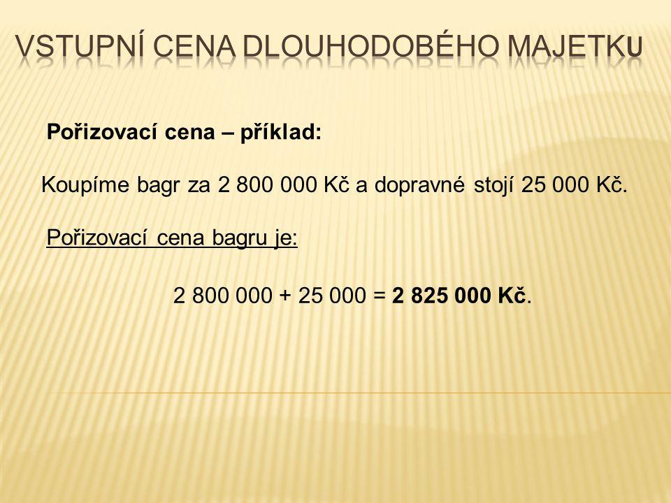 Pořizovací cena – příklad: Koupíme bagr za 2 800 000 Kč a dopravné stojí 25 000 Kč.