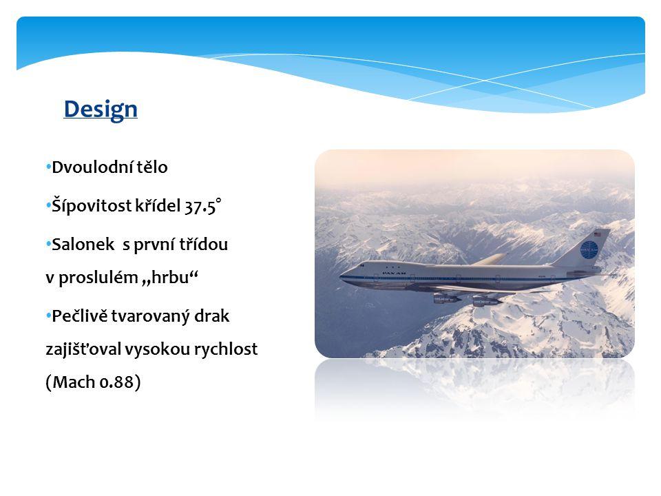 """Dvoulodní tělo Šípovitost křídel 37.5° Salonek s první třídou v proslulém """"hrbu Pečlivě tvarovaný drak zajišťoval vysokou rychlost (Mach 0.88) Design"""