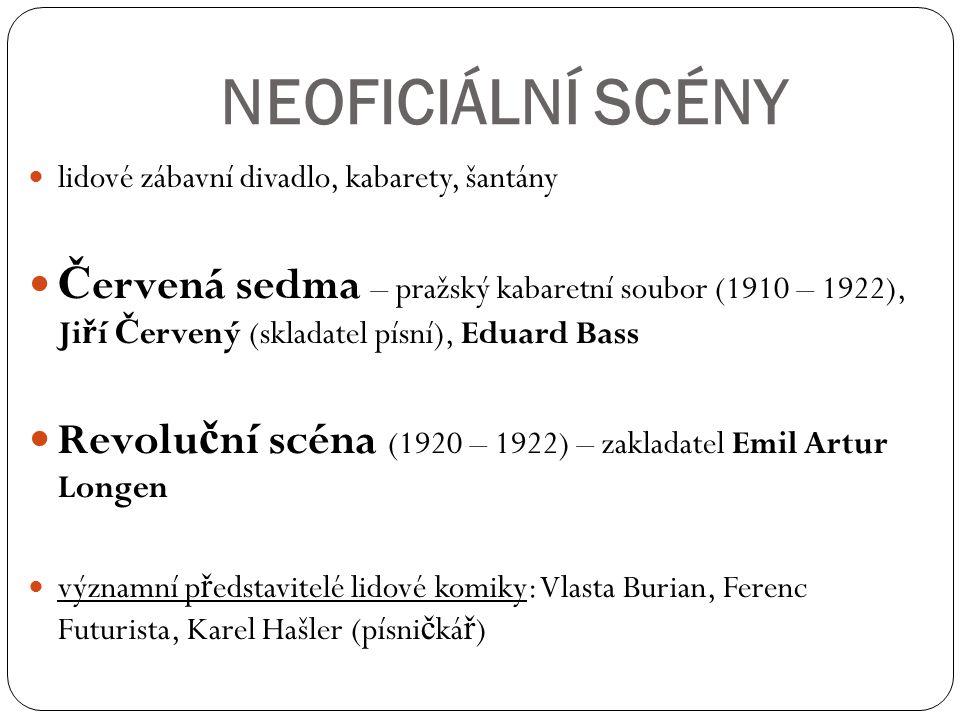 NEOFICIÁLNÍ SCÉNY lidové zábavní divadlo, kabarety, šantány Č ervená sedma – pražský kabaretní soubor (1910 – 1922), Ji ř í Č ervený (skladatel písní)