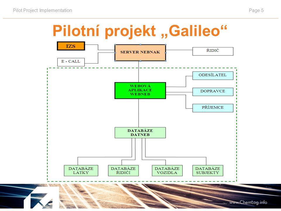 """Pilot Project ImplementationPage 6 Systems WEBNEB – NEBNAK Pilotní projekt """"Galileo"""