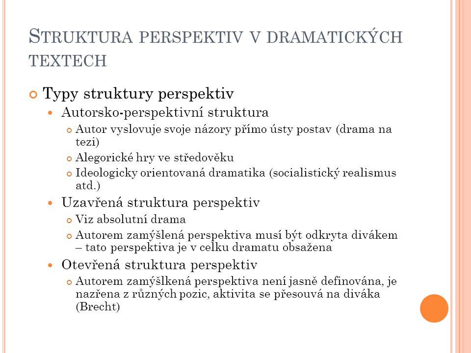 S TRUKTURA PERSPEKTIV V DRAMATICKÝCH TEXTECH Typy struktury perspektiv Autorsko-perspektivní struktura Autor vyslovuje svoje názory přímo ústy postav