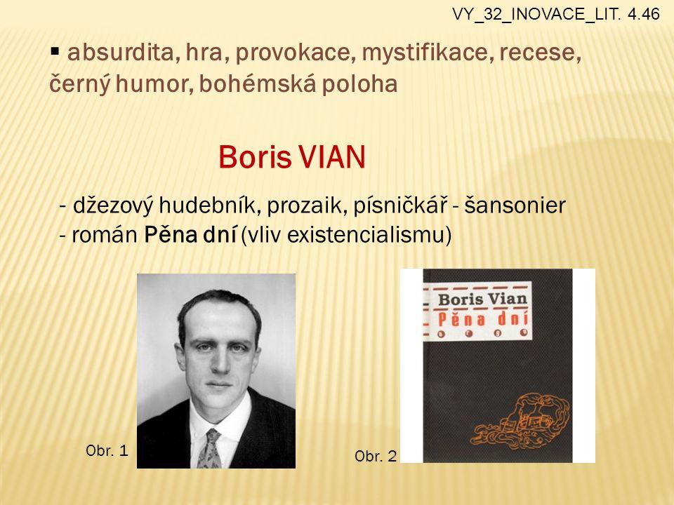 Boris VIAN - džezový hudebník, prozaik, písničkář - šansonier - román Pěna dní (vliv existencialismu)  absurdita, hra, provokace, mystifikace, recese, černý humor, bohémská poloha VY_32_INOVACE_LIT.