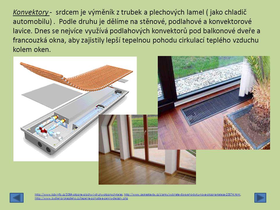 Podlahové panely – rozdělují se podle vložení trubek : Meandrové Spirálové Trubky se kladou na tepelně izolační desky a zabetonují se nebo zasypou násypem a překryjí roznášecí deskou.