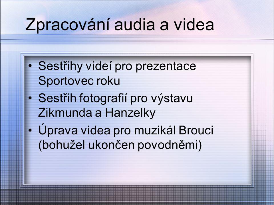 Zpracování audia a videa Sestřihy videí pro prezentace Sportovec roku Sestřih fotografií pro výstavu Zikmunda a Hanzelky Úprava videa pro muzikál Brou