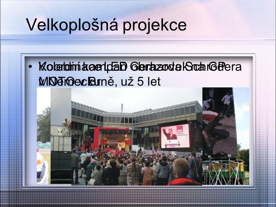 Velkoplošná projekce Koordinace LED obrazovek na GP MOTO v Brně, už 5 let Volební kampaň Gerharda Schrödera v Německu