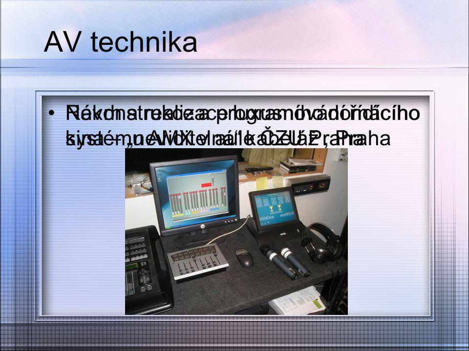 """AV technika Návrh a realizace luxusního domácího kina – """"neviditelná"""" kabeláž, Praha Rekonstrukce a programování řídícího systému AMX v aule ČZU Praha"""
