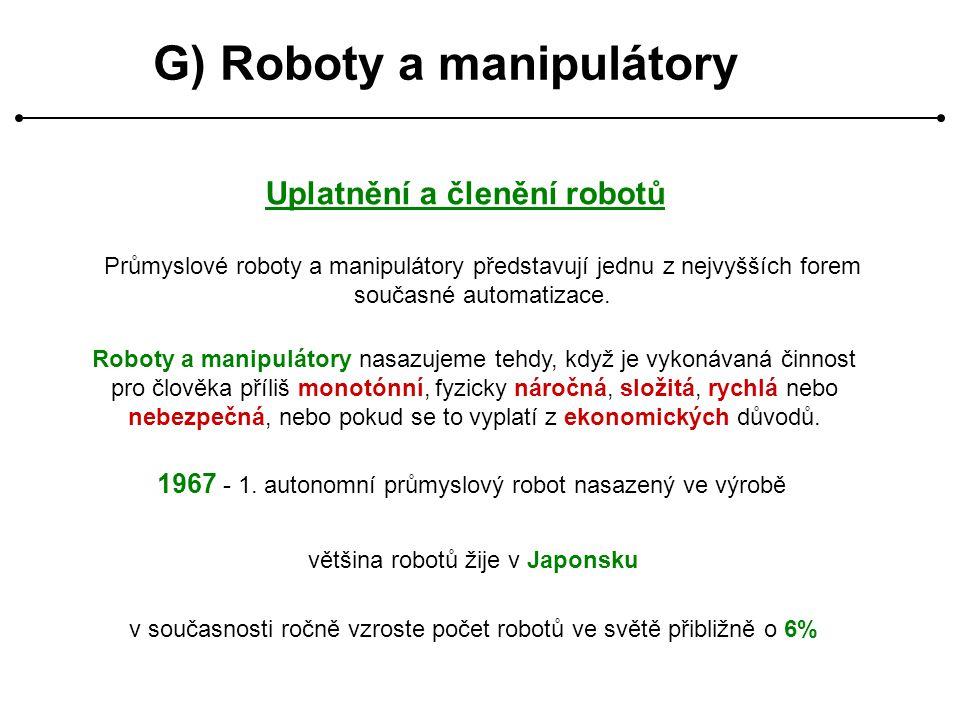G) Roboty a manipulátory Uplatnění a členění robotů Průmyslové roboty a manipulátory představují jednu z nejvyšších forem současné automatizace. 1967