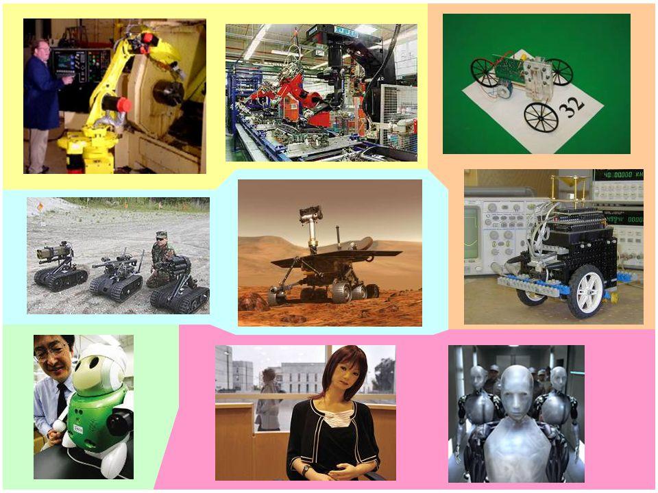 členění robotů podle prováděné práce: manipulační (podávání polotovarů, součástek) technologické (svařovací, montážní, pro povrchové úpravy) speciální (práce pod vodou, v kosmu, v radioaktivním prostředí) univerzální (kombinace předchozích) členění robotů podle řízení: průmyslové roboty a manipulátory jednoúčelové programovatelné 1.