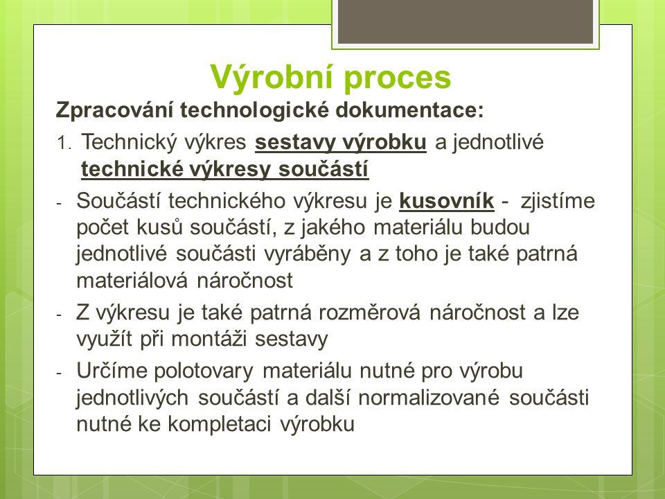 Výrobní proces Zpracování technologické dokumentace: 1. Technický výkres sestavy výrobku a jednotlivé technické výkresy součástí - Součástí technickéh