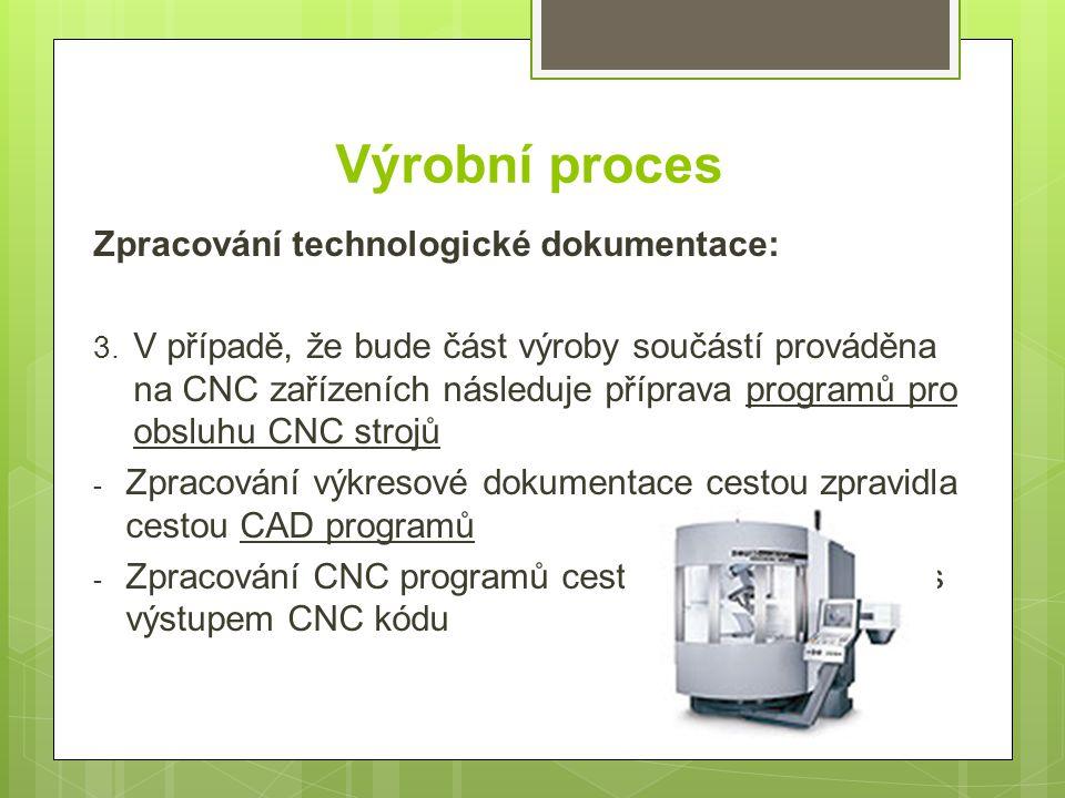Výrobní proces Zpracování technologické dokumentace: 3. V případě, že bude část výroby součástí prováděna na CNC zařízeních následuje příprava program
