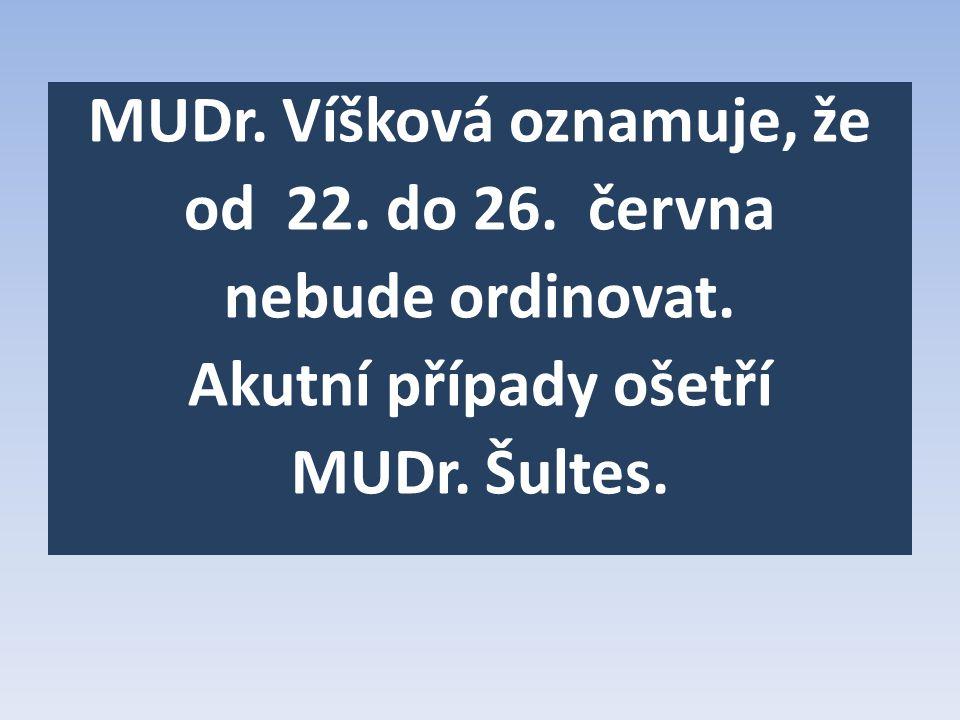 MUDr. Víšková oznamuje, že od 22. do 26. června nebude ordinovat.