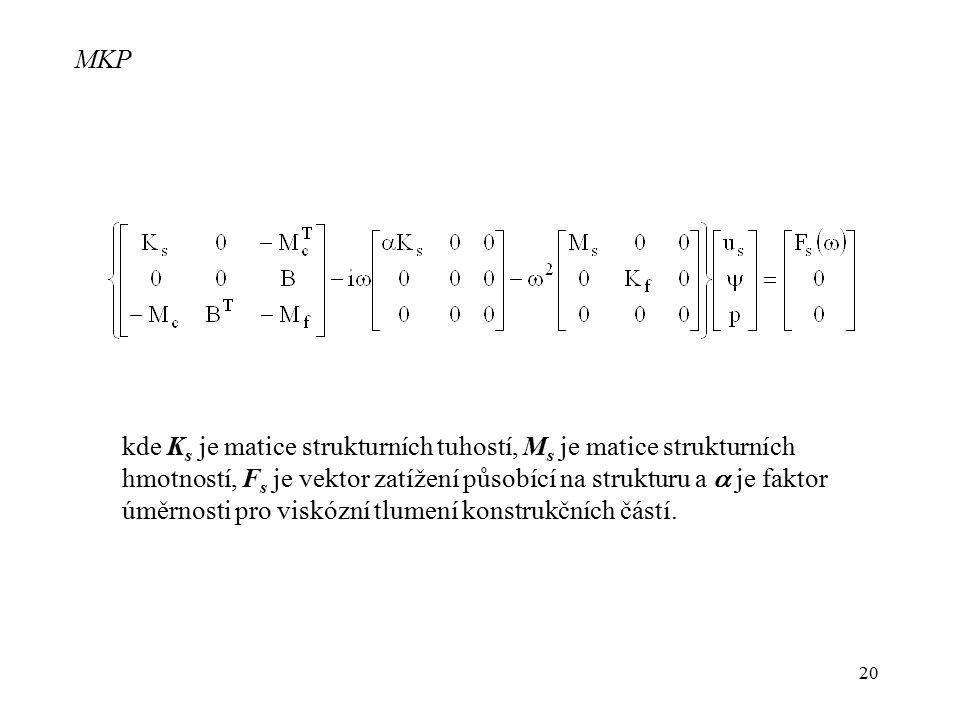20 MKP kde K s je matice strukturních tuhostí, M s je matice strukturních hmotností, F s je vektor zatížení působící na strukturu a  je faktor úměrno