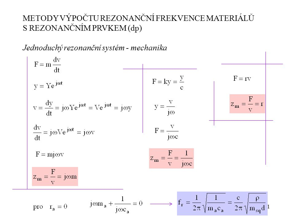 21 METODY VÝPOČTU REZONANČNÍ FREKVENCE MATERIÁLŮ S REZONANČNÍM PRVKEM (dp) Jednoduchý rezonanční systém - mechanika