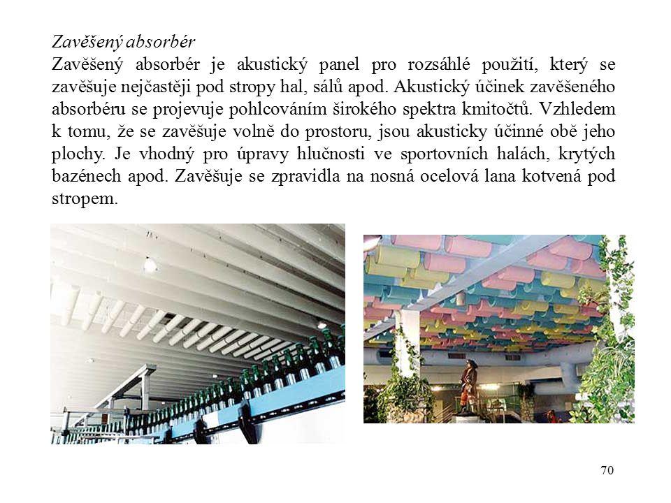 70 Zavěšený absorbér Zavěšený absorbér je akustický panel pro rozsáhlé použití, který se zavěšuje nejčastěji pod stropy hal, sálů apod. Akustický účin