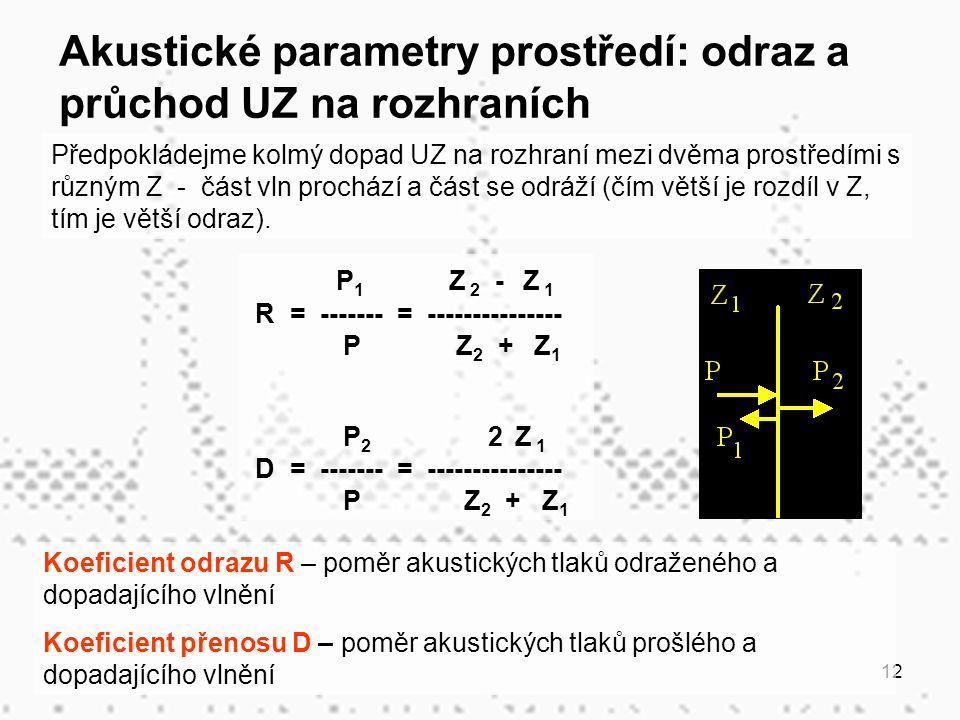 12 Předpokládejme kolmý dopad UZ na rozhraní mezi dvěma prostředími s různým Z - část vln prochází a část se odráží (čím větší je rozdíl v Z, tím je v