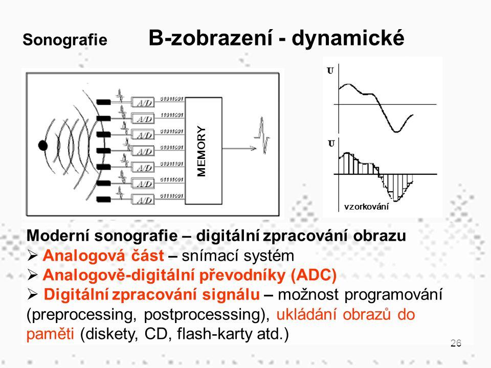 26 Moderní sonografie – digitální zpracování obrazu  Analogová část – snímací systém  Analogově-digitální převodníky (ADC)  Digitální zpracování si
