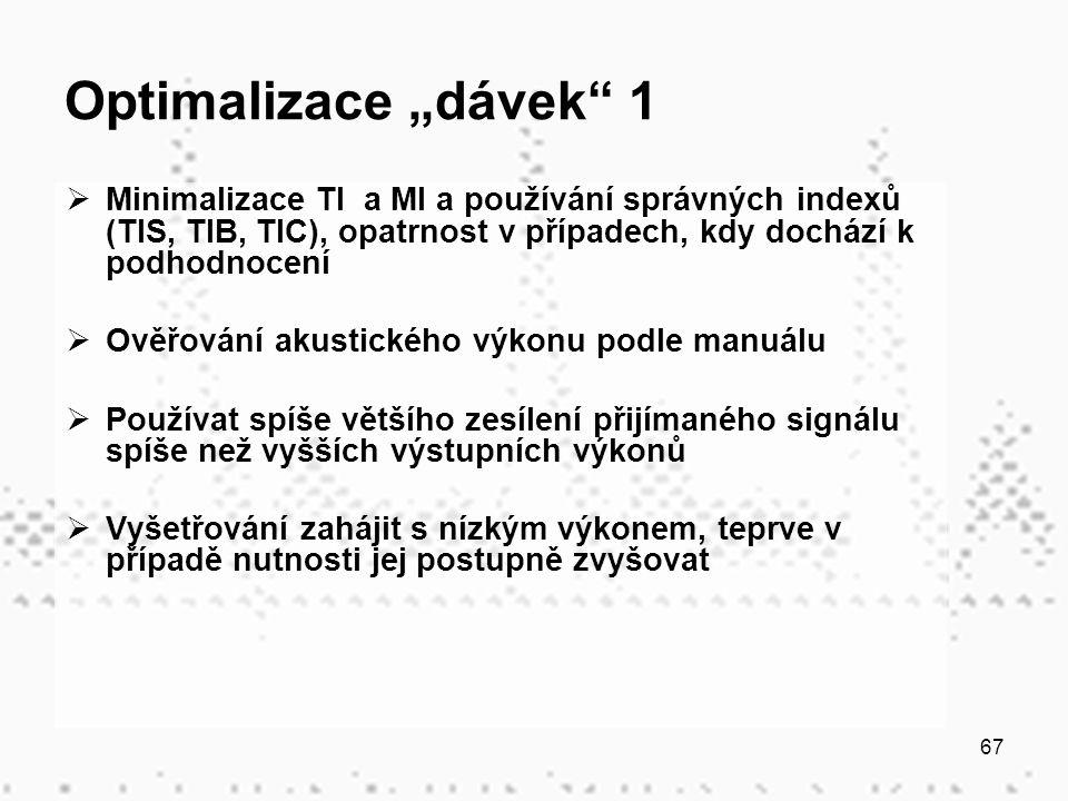 """67 Optimalizace """"dávek"""" 1  Minimalizace TI a MI a používání správných indexů (TIS, TIB, TIC), opatrnost v případech, kdy dochází k podhodnocení  Ově"""