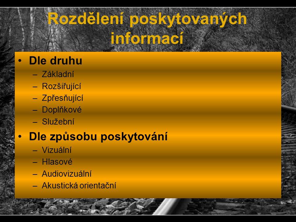Rozdělení poskytovaných informací Dle druhu –Základní –Rozšiřující –Zpřesňující –Doplňkové –Služební Dle způsobu poskytování –Vizuální –Hlasové –Audio