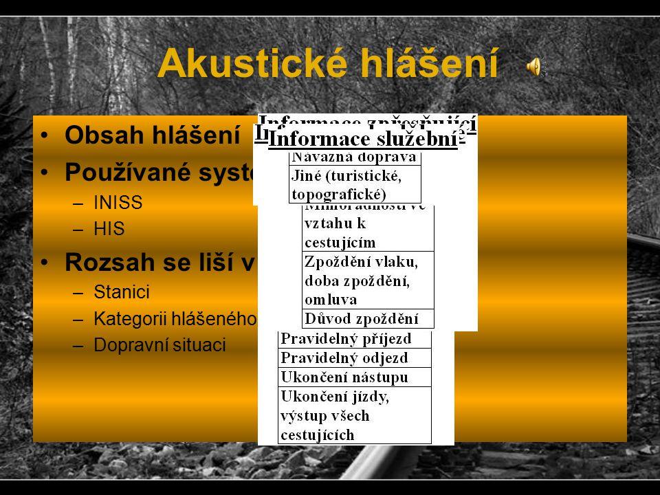 Akustické hlášení Obsah hlášení Používané systémy –INISS –HIS Rozsah se liší v závislosti na –Stanici –Kategorii hlášeného vlaku –Dopravní situaci