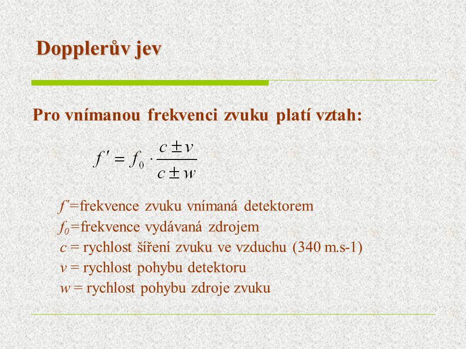 Dopplerův jev Pro vnímanou frekvenci zvuku platí vztah: f´=frekvence zvuku vnímaná detektorem f 0 =frekvence vydávaná zdrojem c = rychlost šíření zvuku ve vzduchu (340 m.s-1) v = rychlost pohybu detektoru w = rychlost pohybu zdroje zvuku