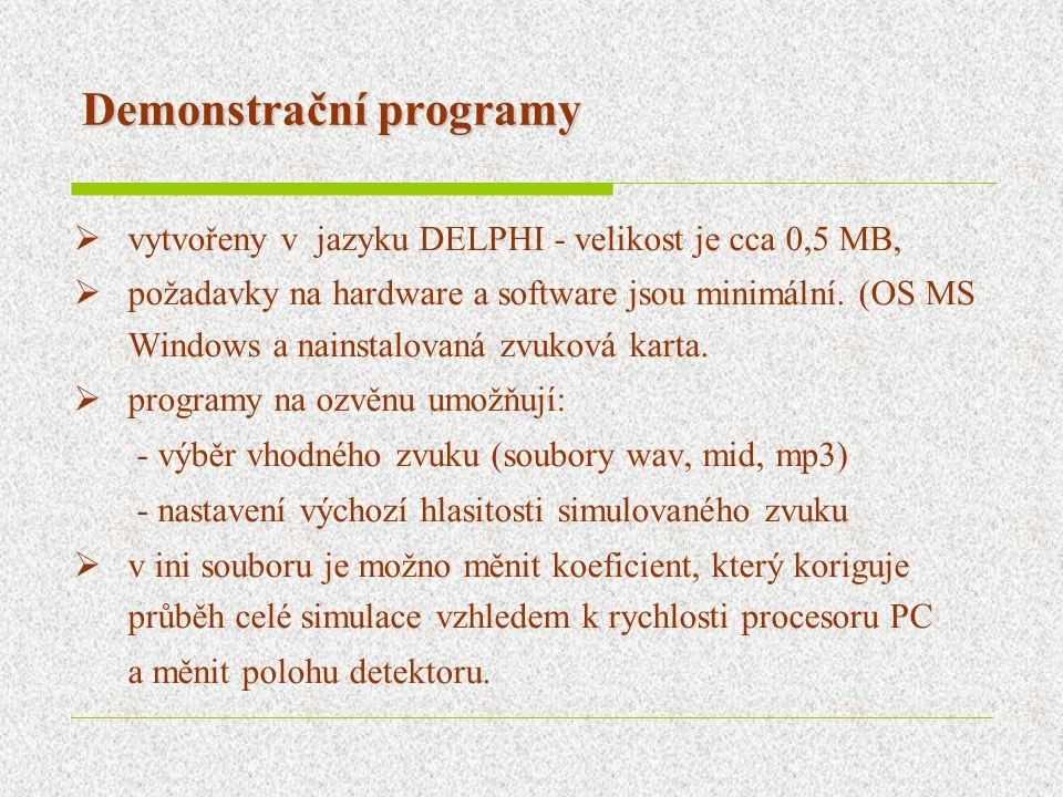Demonstrační programy  vytvořeny v jazyku DELPHI - velikost je cca 0,5 MB,  požadavky na hardware a software jsou minimální.