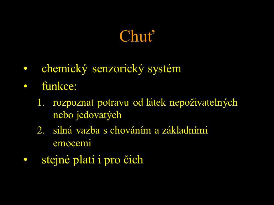Chuť chemický senzorický systém funkce: 1.rozpoznat potravu od látek nepoživatelných nebo jedovatých 2.silná vazba s chováním a základními emocemi stejné platí i pro čich