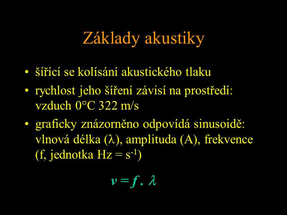 Základy akustiky šířící se kolísání akustického tlaku rychlost jeho šíření závisí na prostředí: vzduch 0°C 322 m/s graficky znázorněno odpovídá sinusoidě: vlnová délka ( ), amplituda (A), frekvence (f, jednotka Hz = s -1 ) v = f.