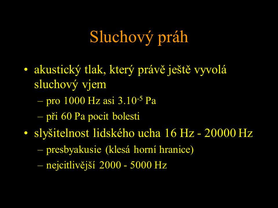 Sluchový práh akustický tlak, který právě ještě vyvolá sluchový vjem –pro 1000 Hz asi 3.10 -5 Pa –při 60 Pa pocit bolesti slyšitelnost lidského ucha 16 Hz - 20000 Hz –presbyakusie (klesá horní hranice) –nejcitlivější 2000 - 5000 Hz