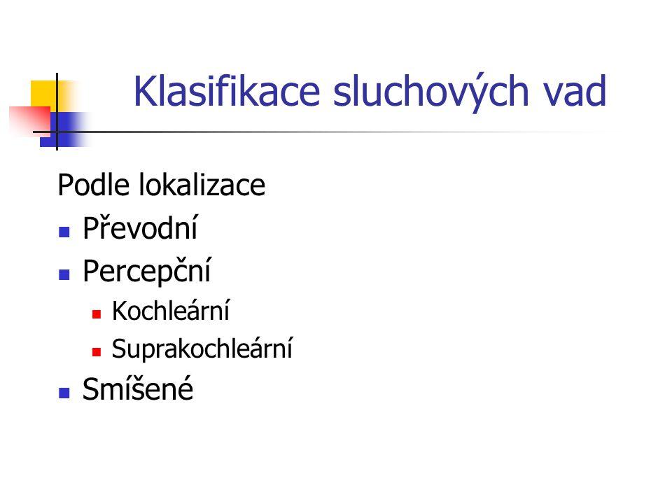 Klasifikace sluchových vad Postnatálně získané vady sluchu Prelingvální postlingvální