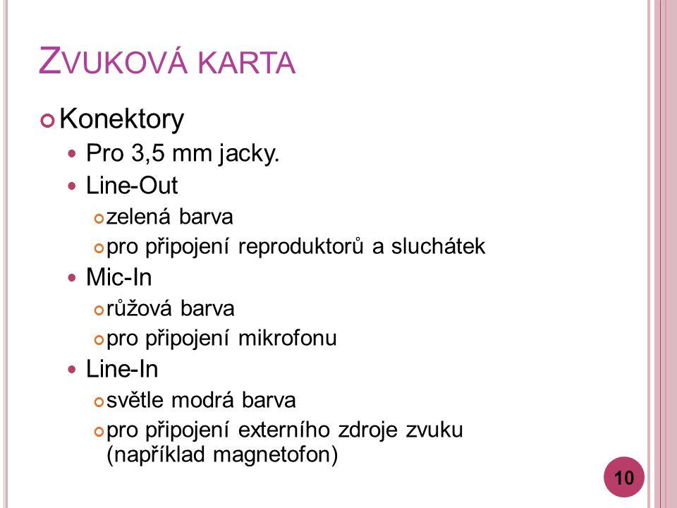 Z VUKOVÁ KARTA Konektory Pro 3,5 mm jacky.