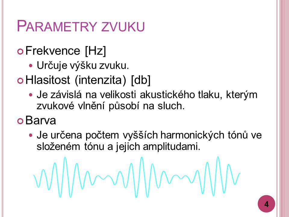 P ARAMETRY ZVUKU Frekvence [Hz] Určuje výšku zvuku.