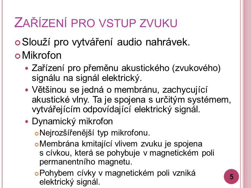 Z AŘÍZENÍ PRO VSTUP ZVUKU Slouží pro vytváření audio nahrávek.