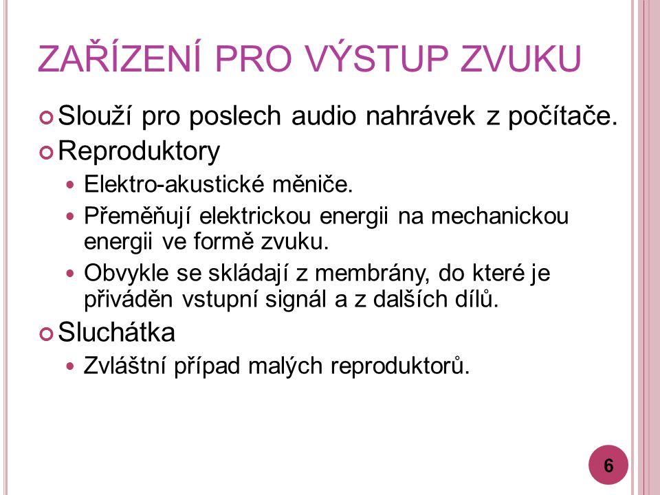 ZAŘÍZENÍ PRO VÝSTUP ZVUKU Slouží pro poslech audio nahrávek z počítače.